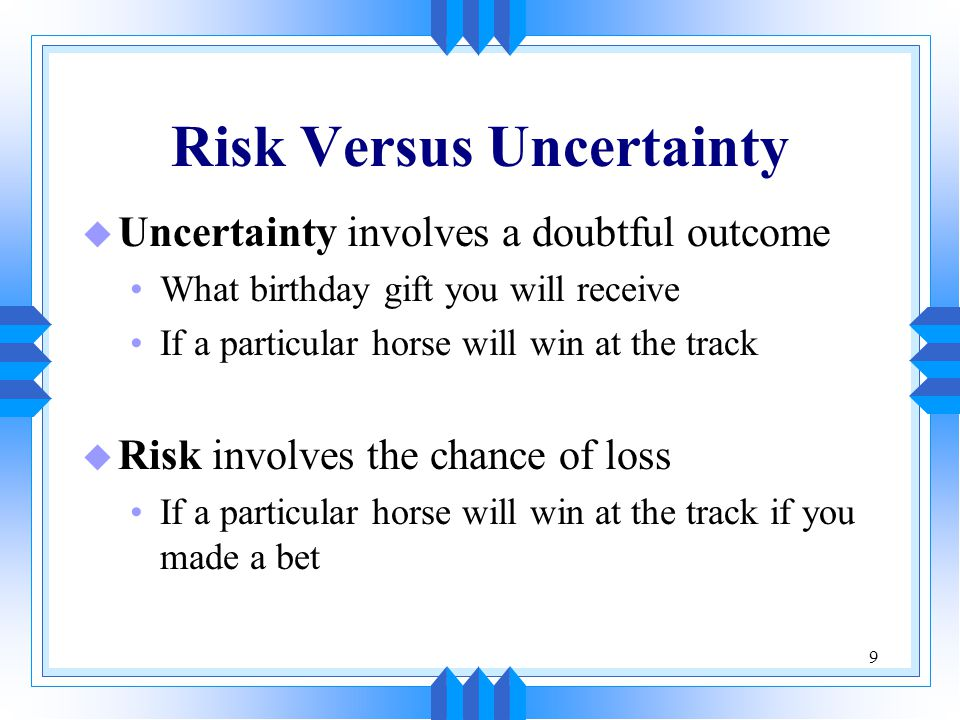 Risk Versus Uncertainty