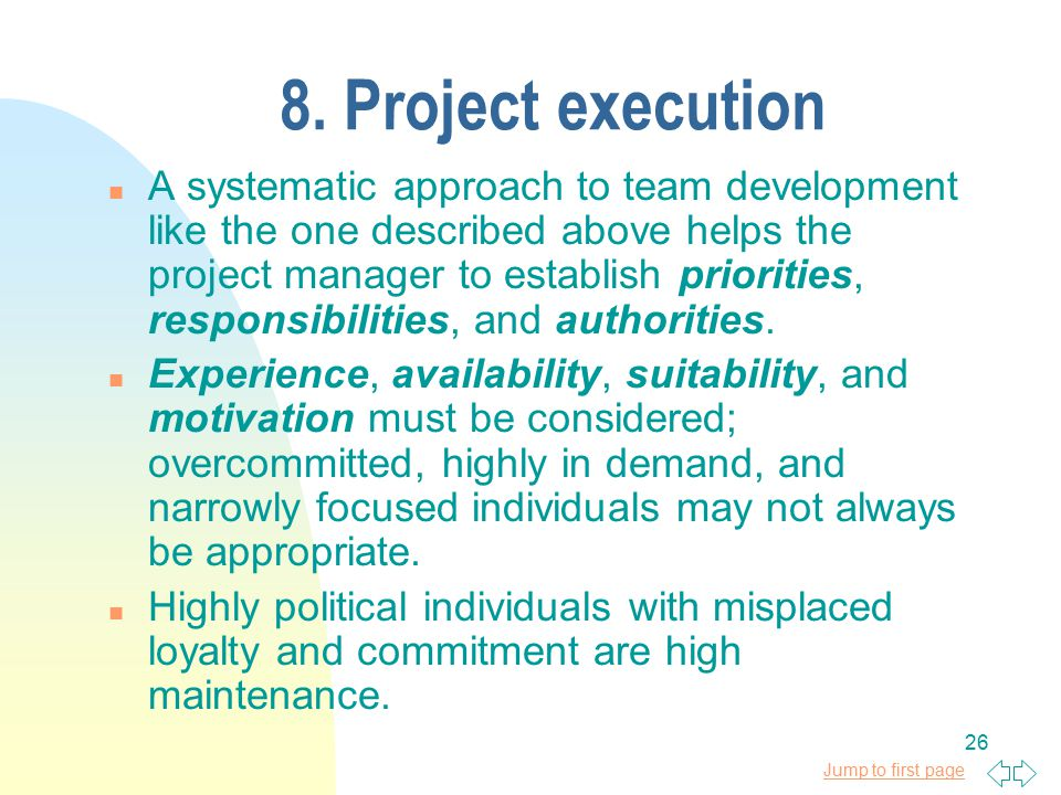 8. Project execution