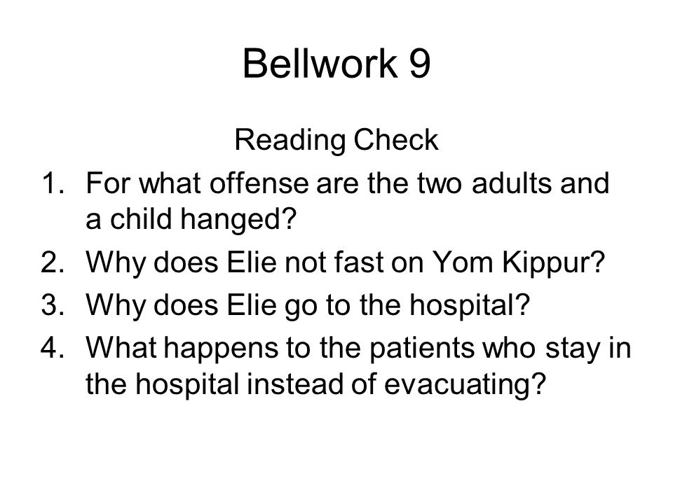 Bellwork 9 Reading Check
