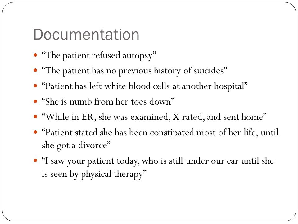 Documentation The patient refused autopsy