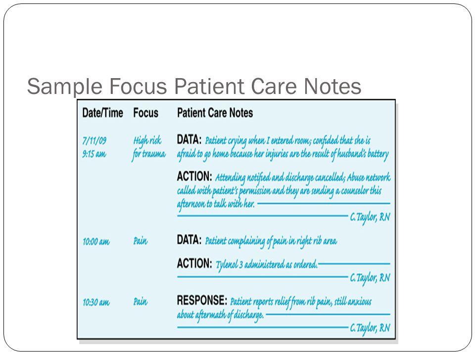 Sample Focus Patient Care Notes