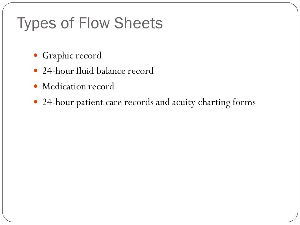 Types of Flow Sheets Graphic record 24-hour fluid balance record