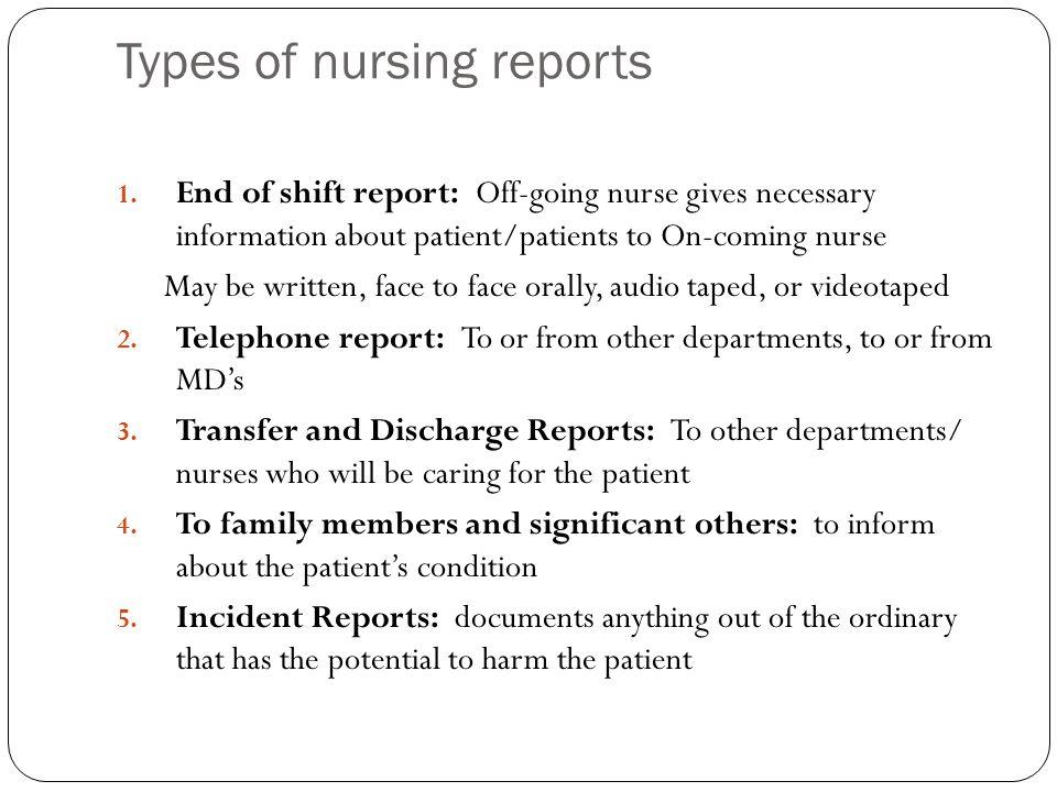 Types of nursing reports