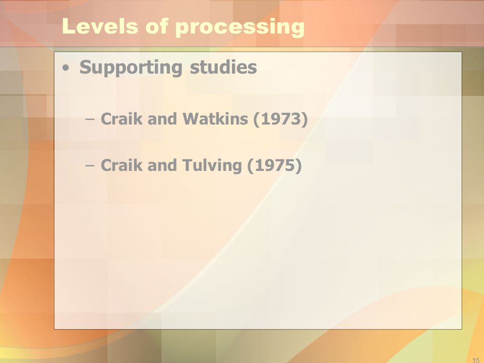 Levels of processing Supporting studies Craik and Watkins (1973)