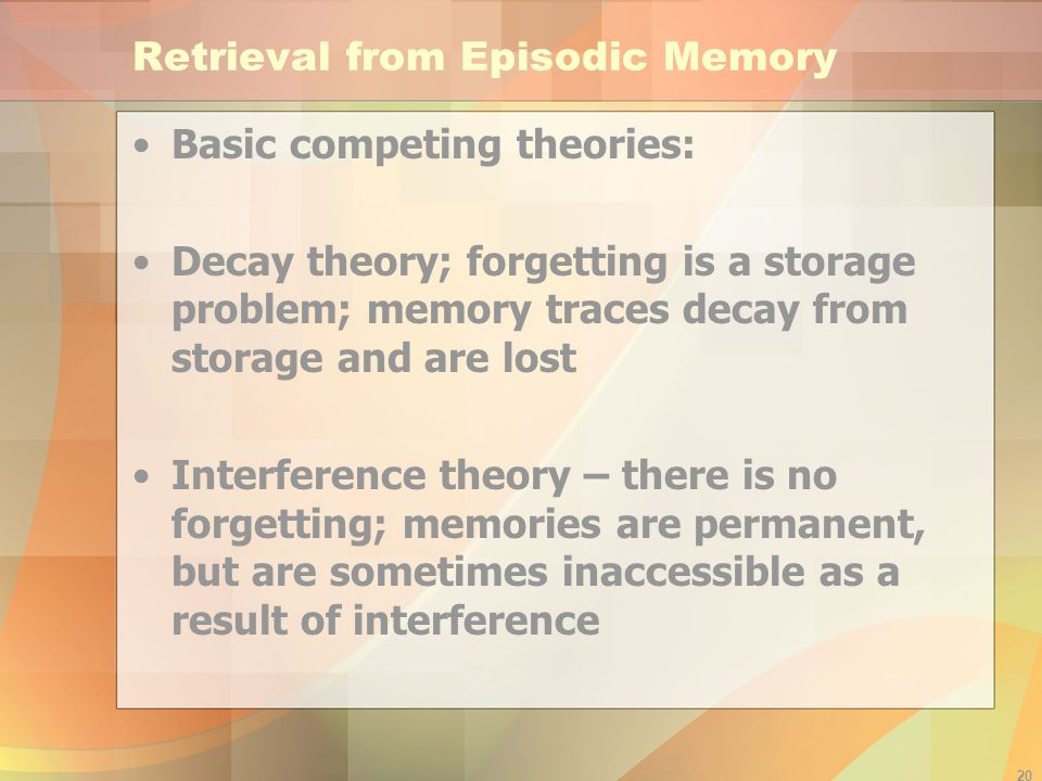 Retrieval from Episodic Memory