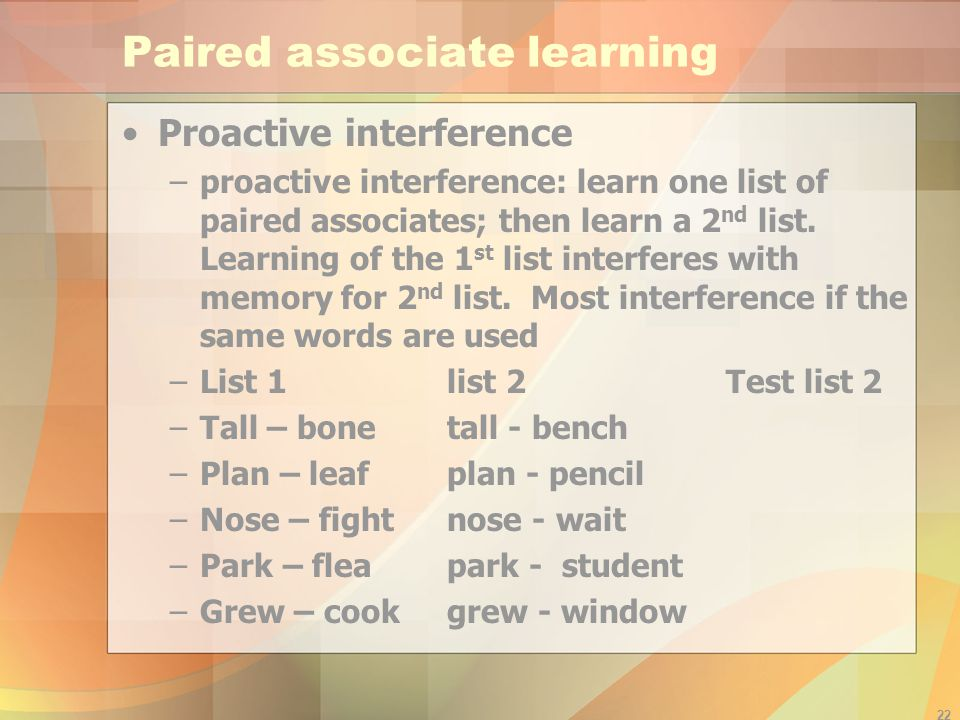 Paired associate learning