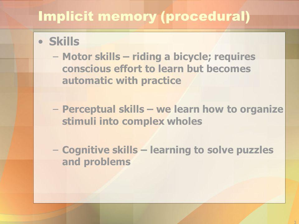Implicit memory (procedural)