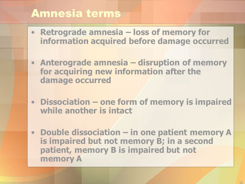 Amnesia terms Retrograde amnesia – loss of memory for information acquired before damage occurred.