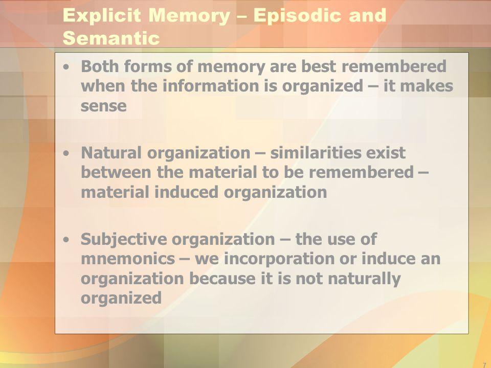 Explicit Memory – Episodic and Semantic
