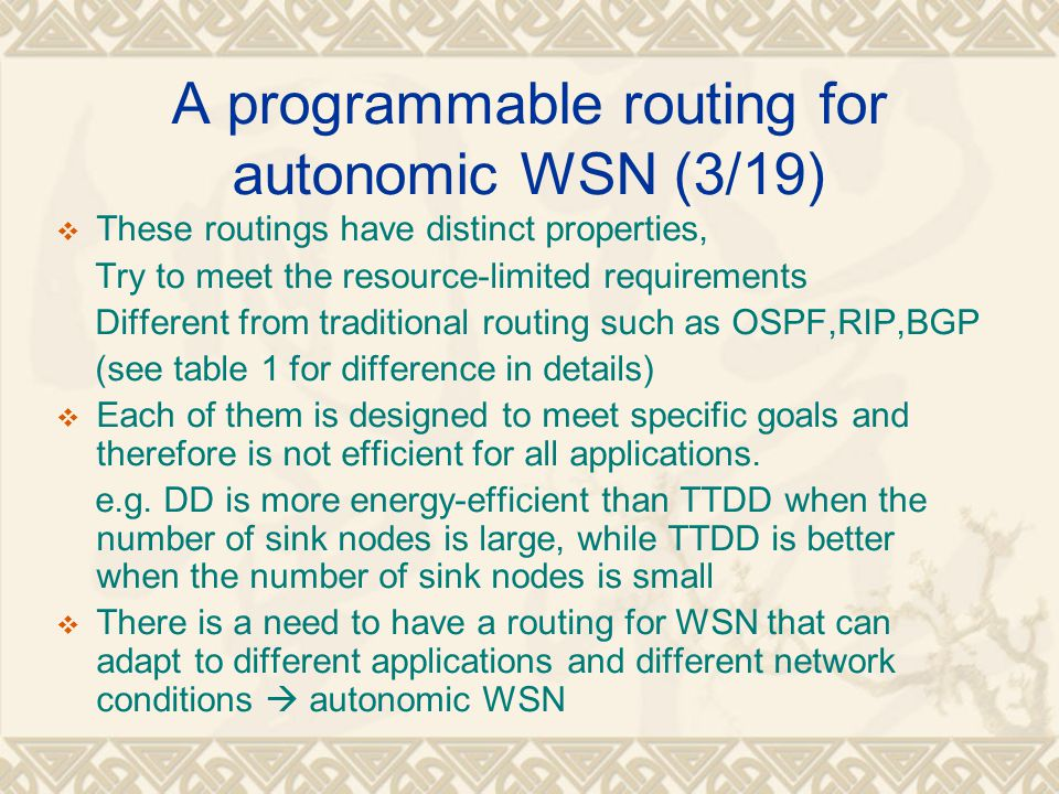 A programmable routing for autonomic WSN (3/19)