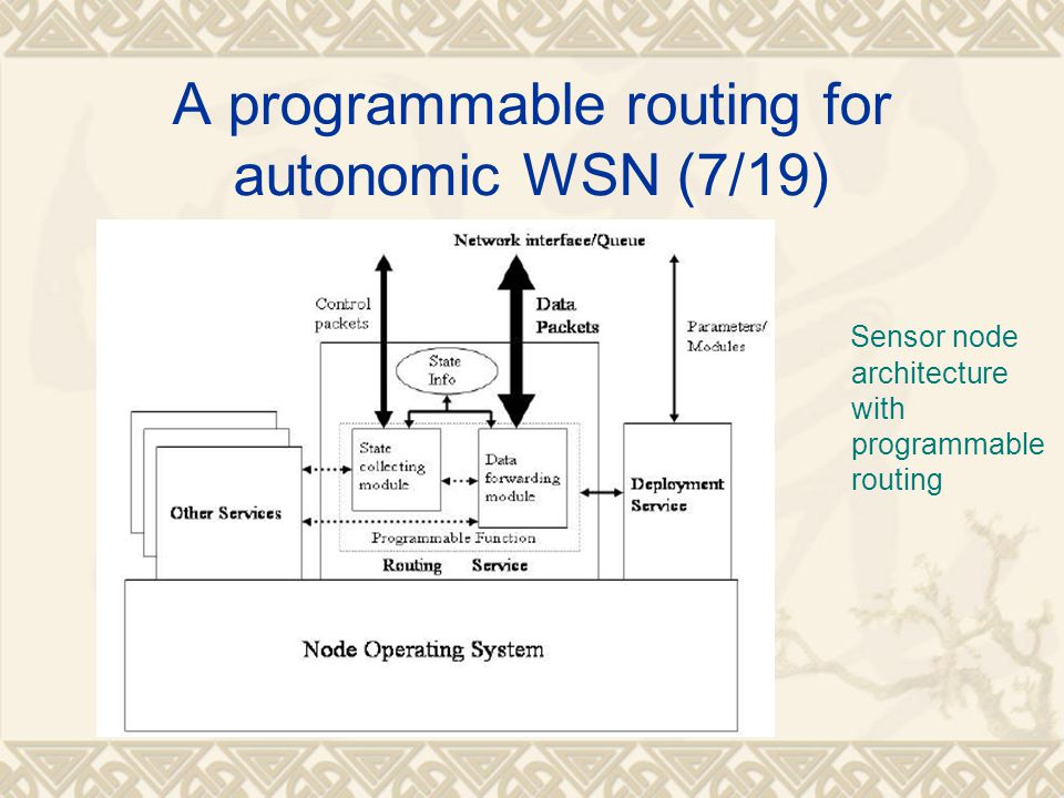 A programmable routing for autonomic WSN (7/19)