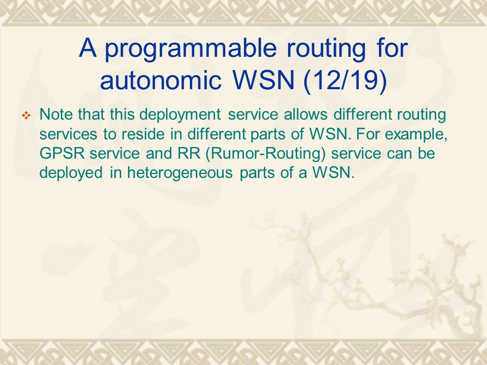 A programmable routing for autonomic WSN (12/19)