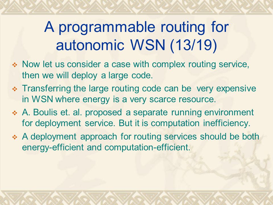 A programmable routing for autonomic WSN (13/19)