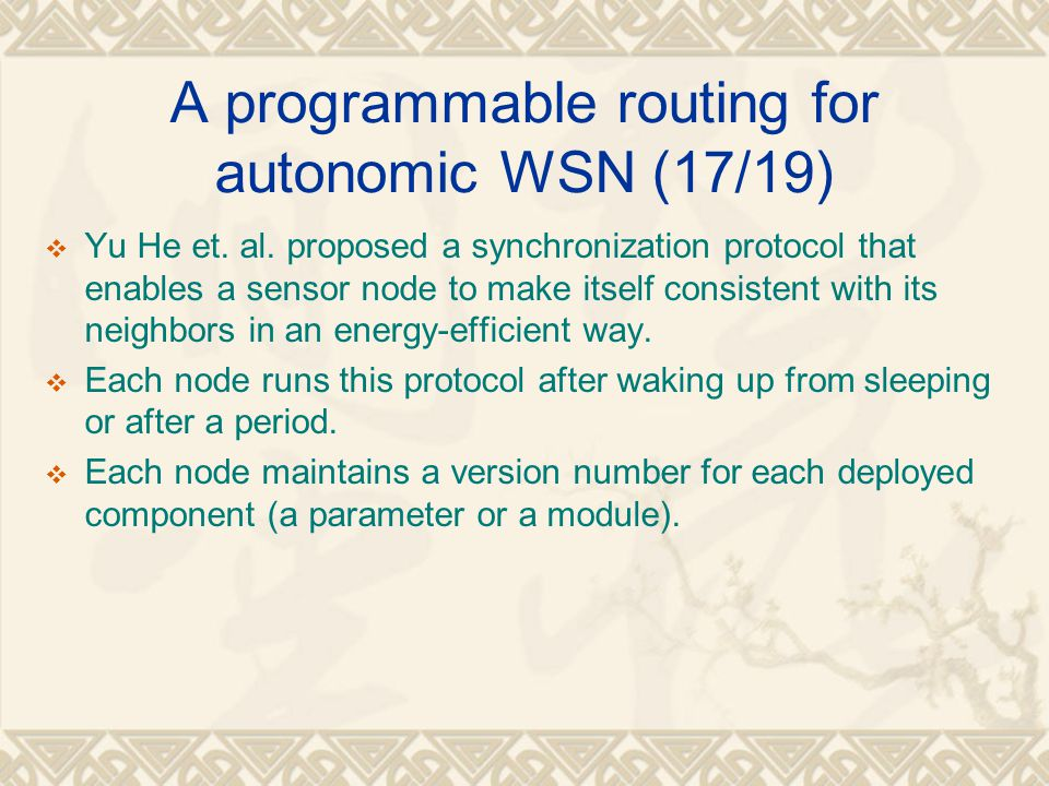 A programmable routing for autonomic WSN (17/19)
