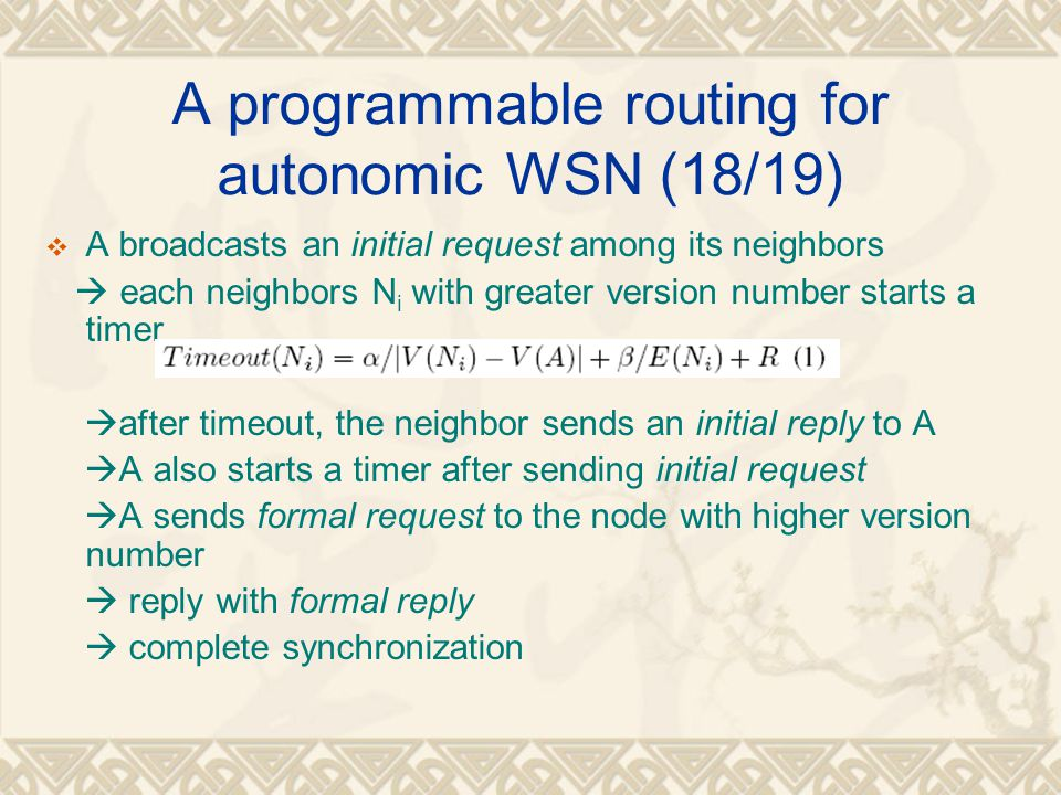 A programmable routing for autonomic WSN (18/19)