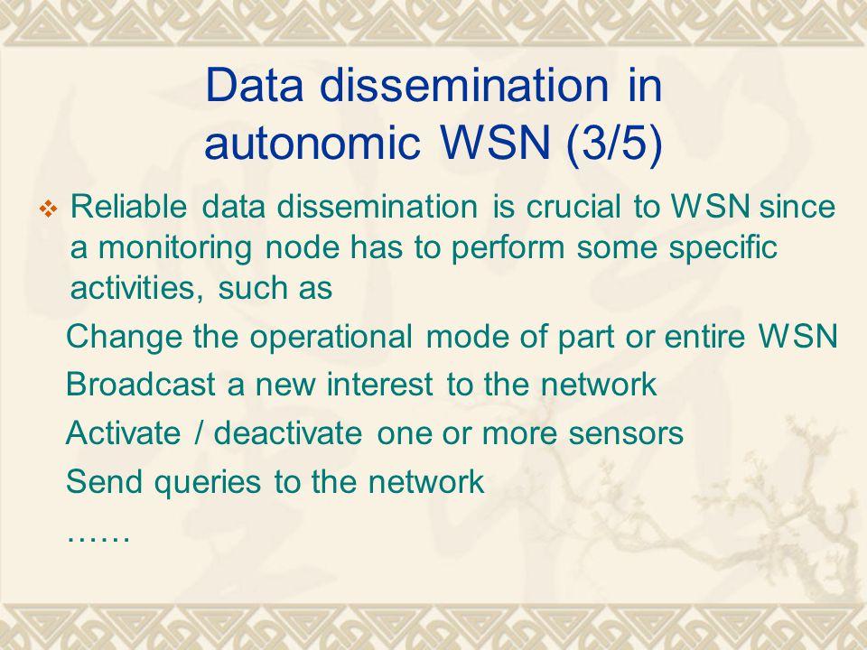 Data dissemination in autonomic WSN (3/5)