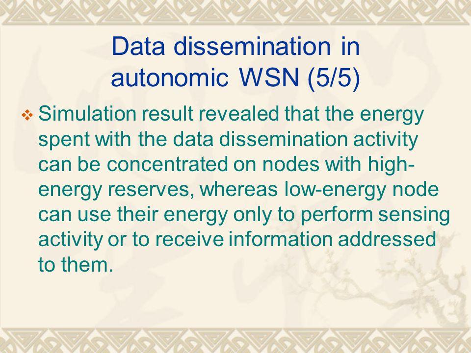 Data dissemination in autonomic WSN (5/5)