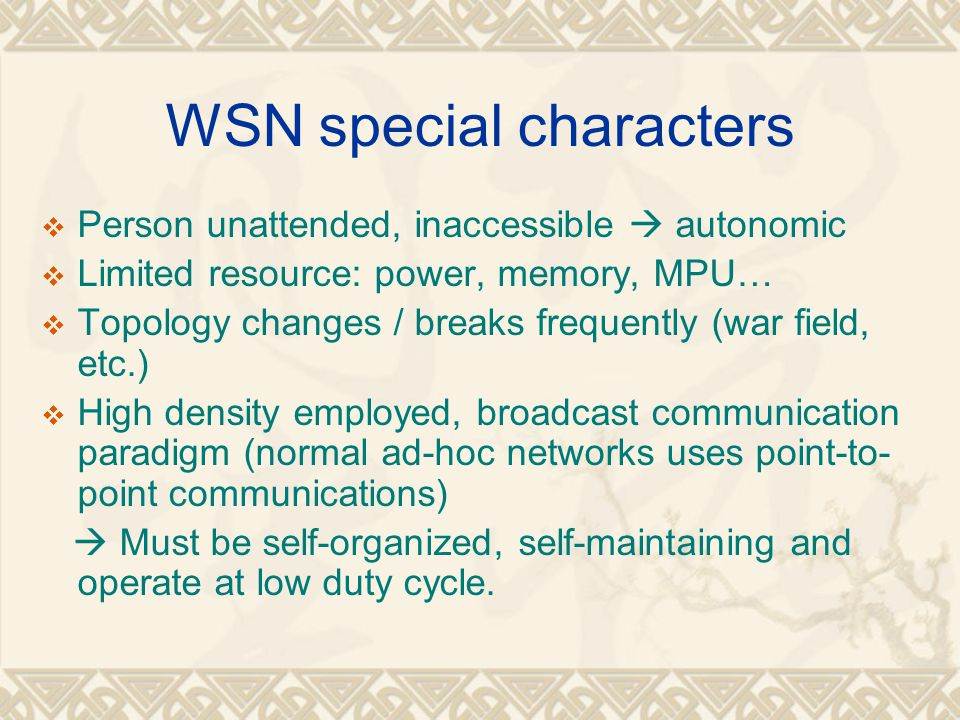 WSN special characters