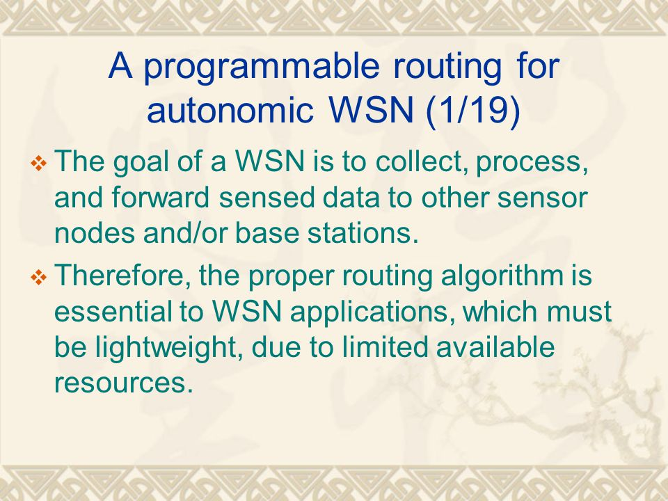 A programmable routing for autonomic WSN (1/19)