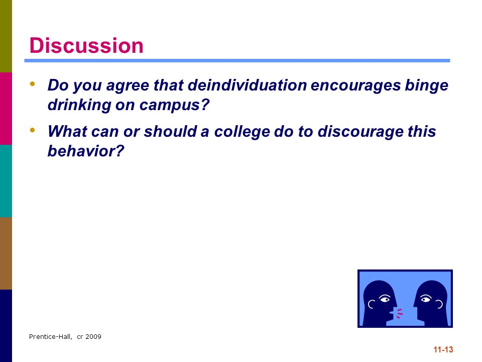 Discussion Do you agree that deindividuation encourages binge drinking on campus What can or should a college do to discourage this behavior