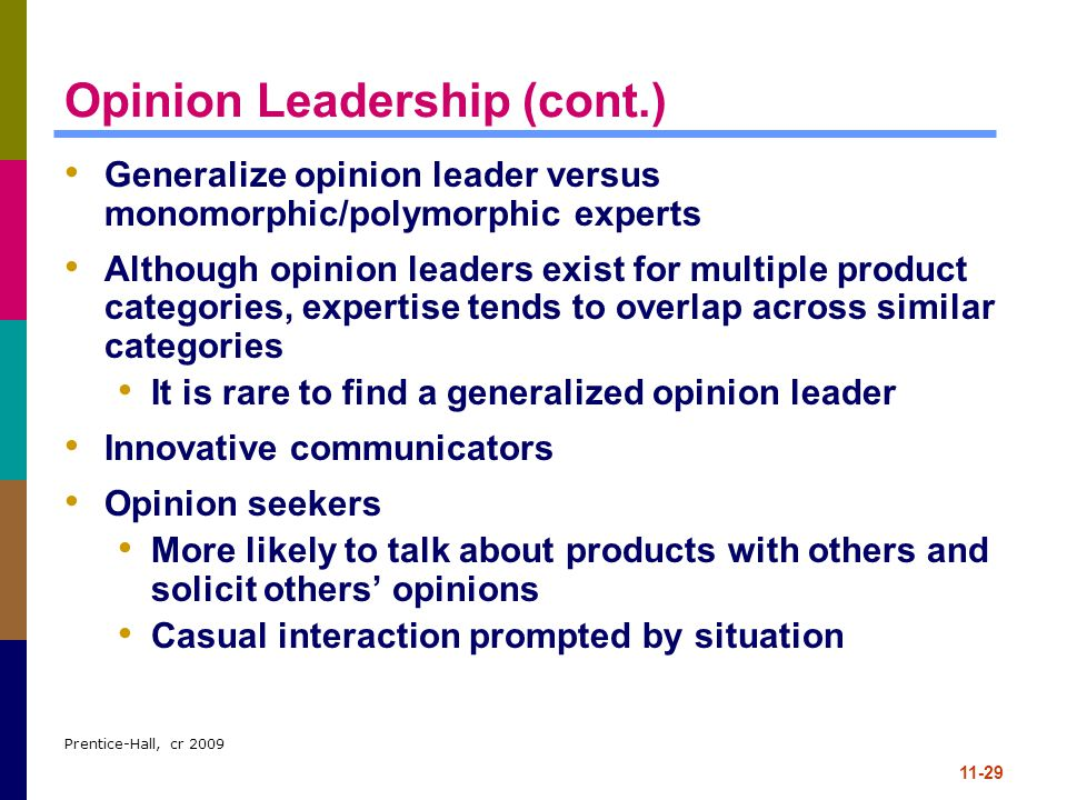 Opinion Leadership (cont.)