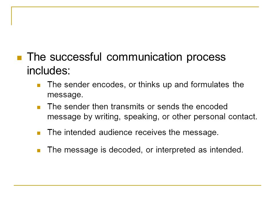 The successful communication process includes: