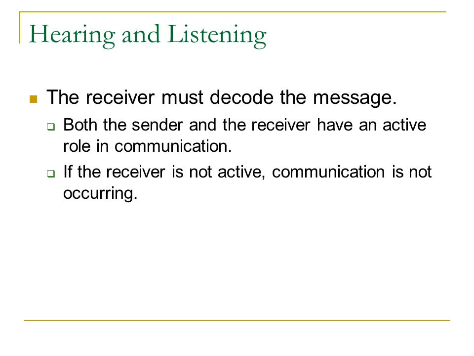 Hearing and Listening The receiver must decode the message.