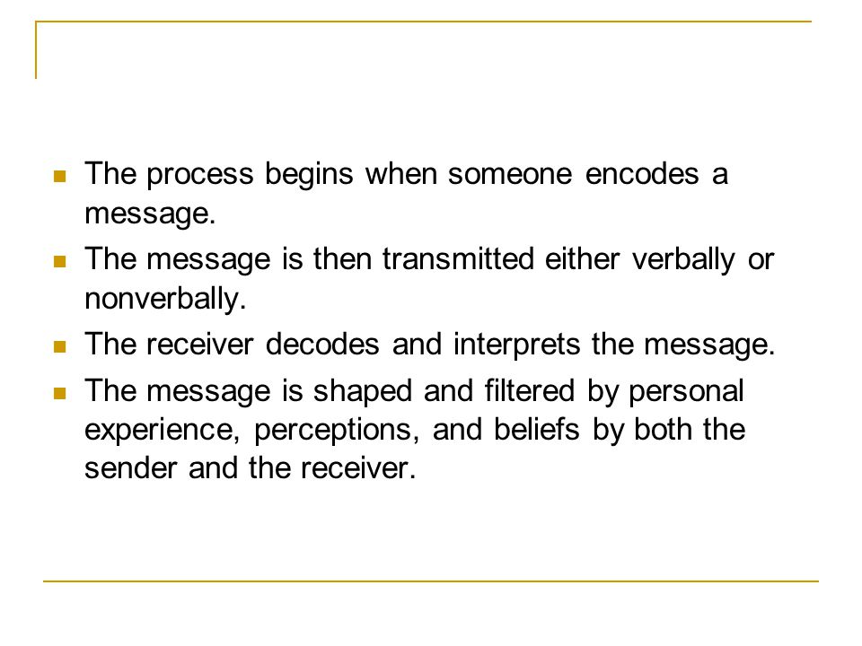 The process begins when someone encodes a message.