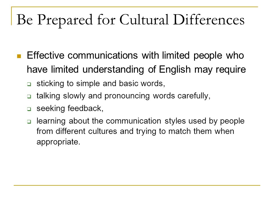 Be Prepared for Cultural Differences