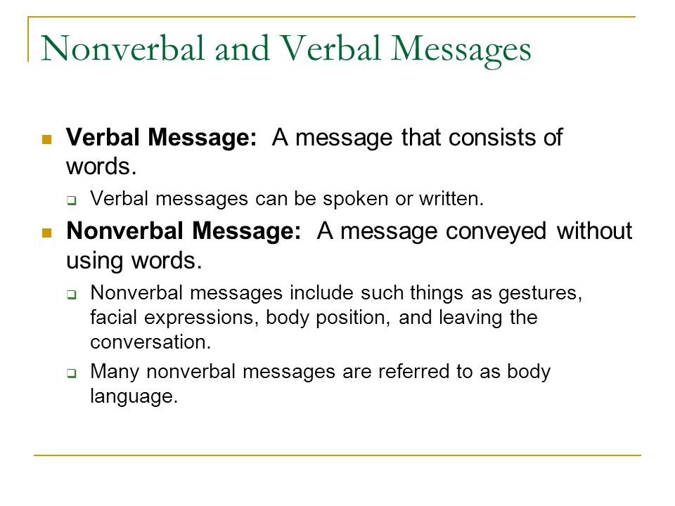 Nonverbal and Verbal Messages