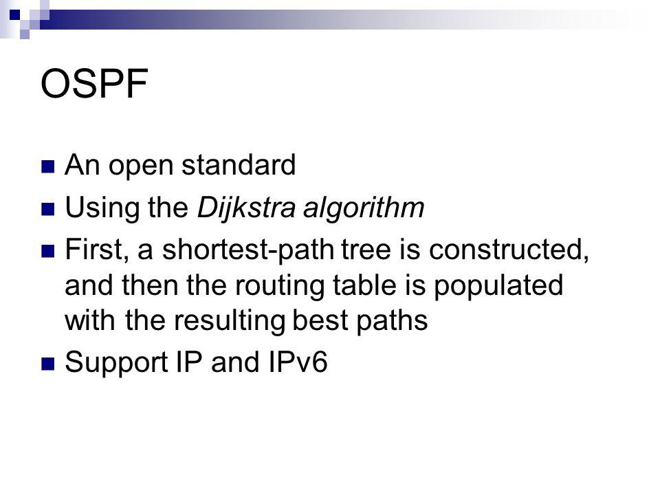 OSPF An open standard Using the Dijkstra algorithm