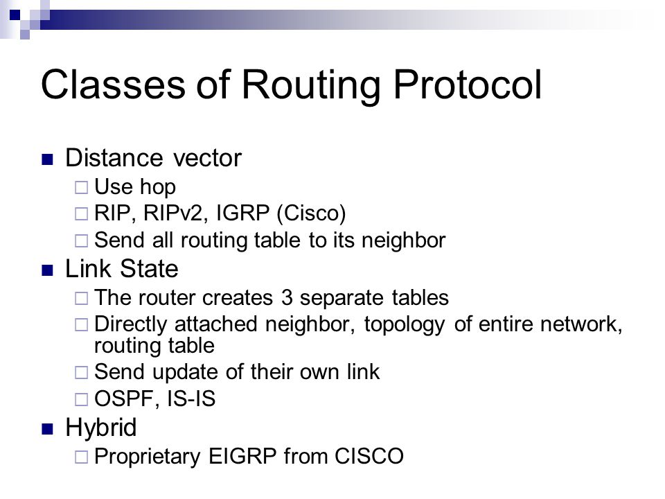 Classes of Routing Protocol