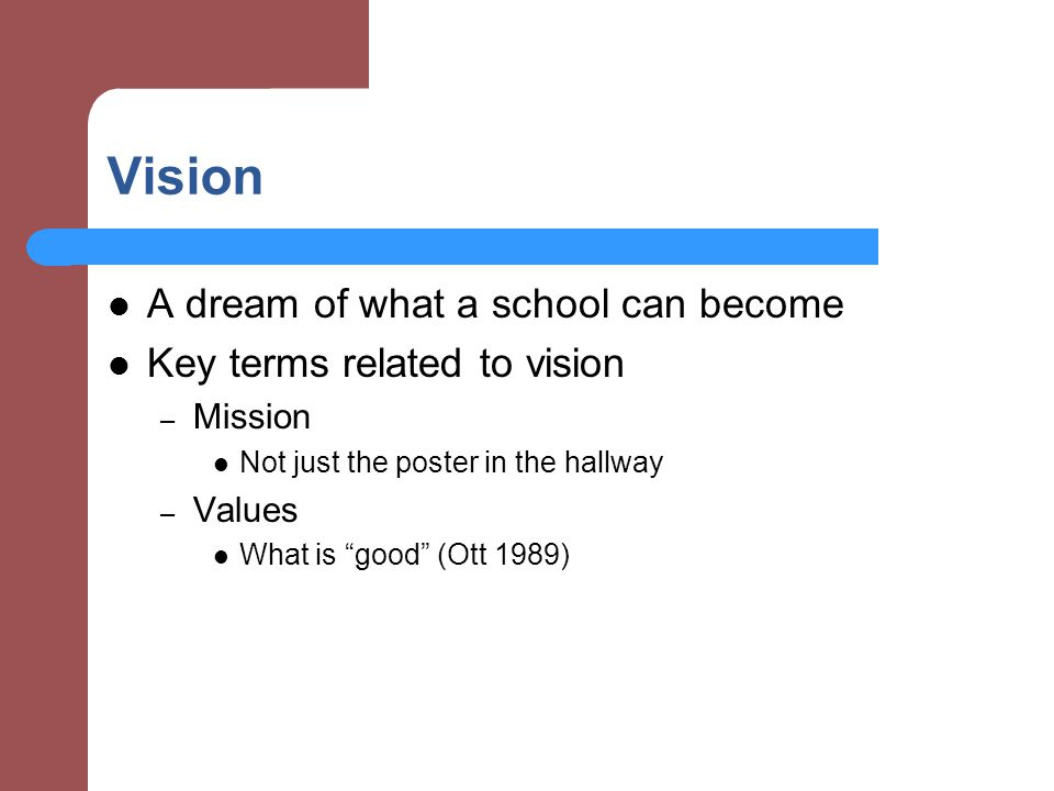 Vision A dream of what a school can become Key terms related to vision