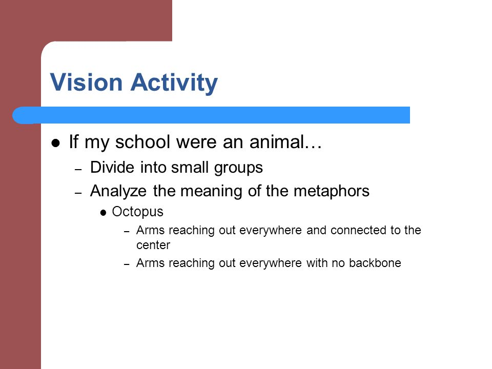 Vision Activity If my school were an animal… Divide into small groups
