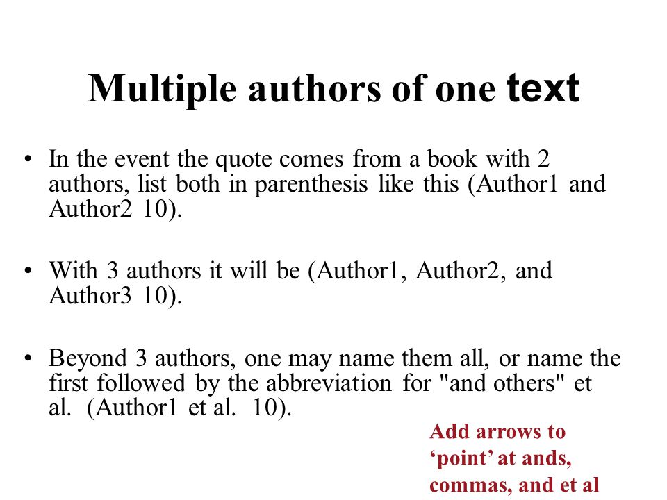 Multiple authors of one text