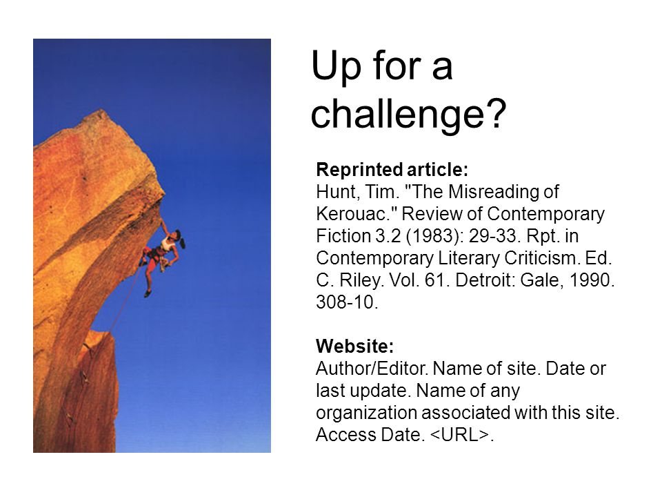 Up for a challenge Reprinted article:
