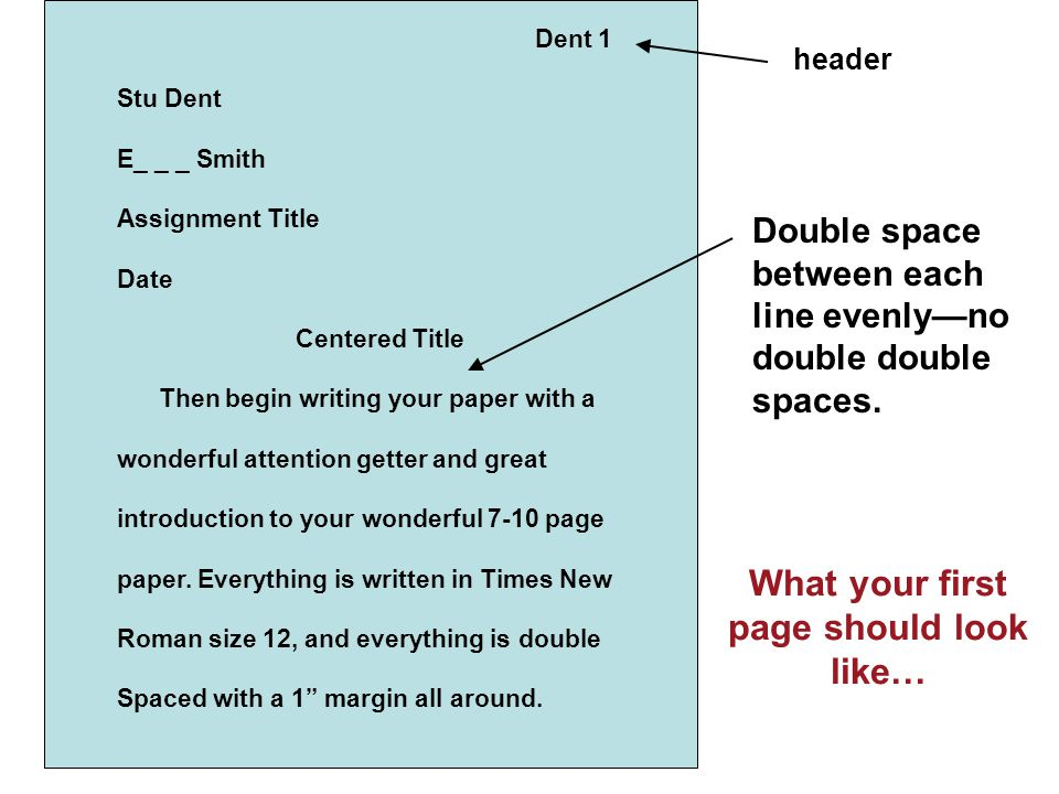 What your first page should look like…