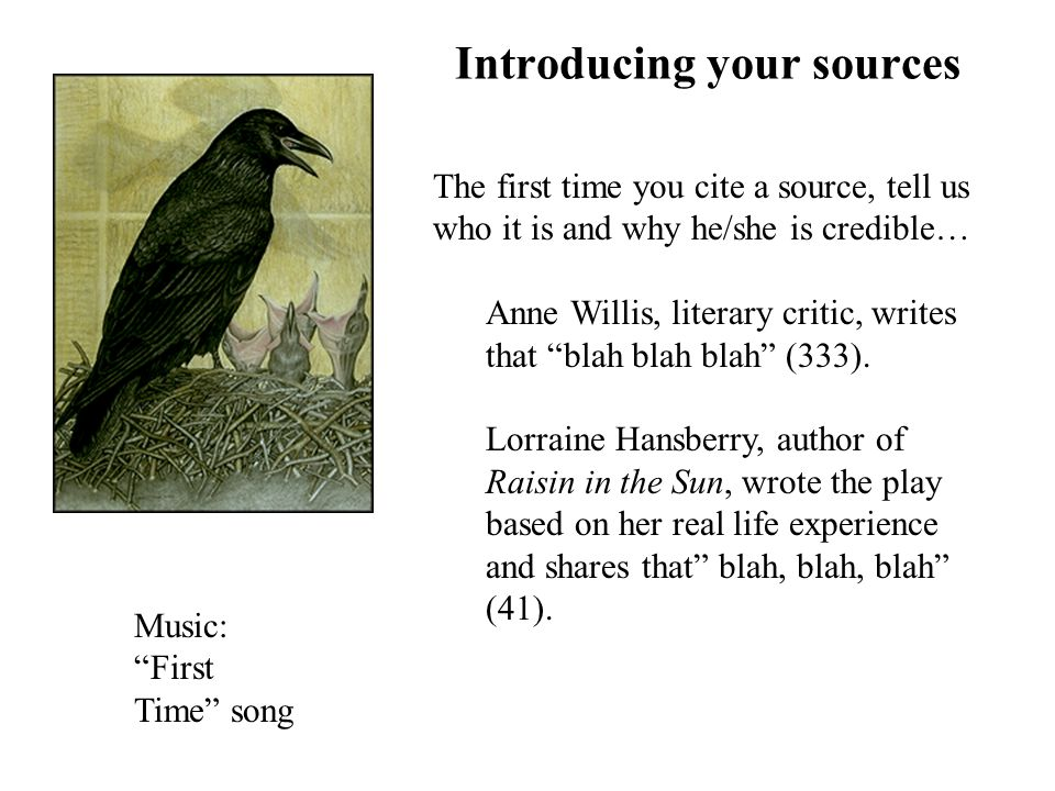 Introducing your sources