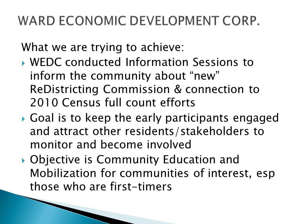 WARD ECONOMIC DEVELOPMENT CORP.