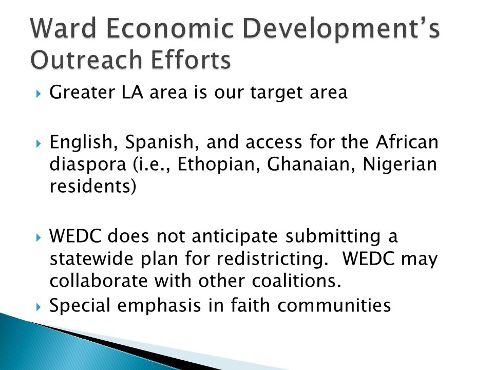 Ward Economic Development's Outreach Efforts