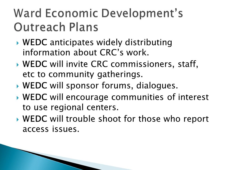 Ward Economic Development's Outreach Plans