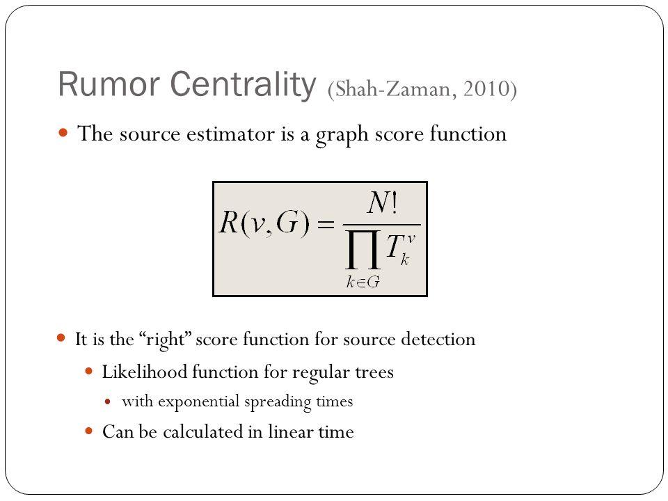 Rumor Centrality (Shah-Zaman, 2010)