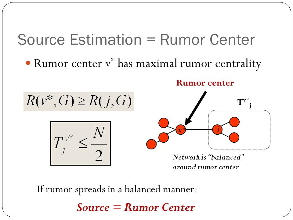 Source Estimation = Rumor Center