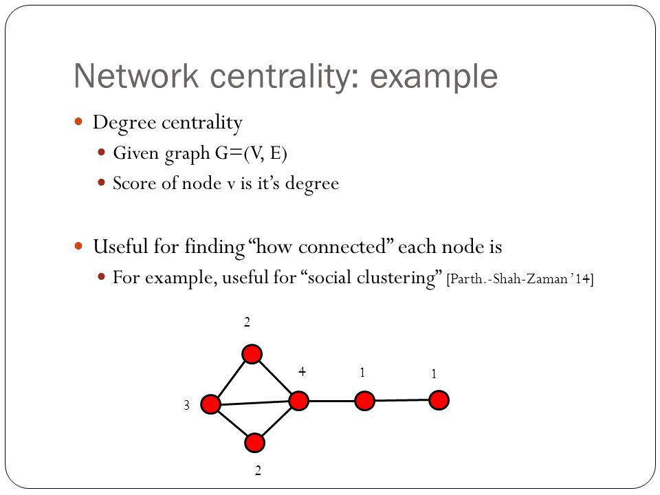 Network centrality: example