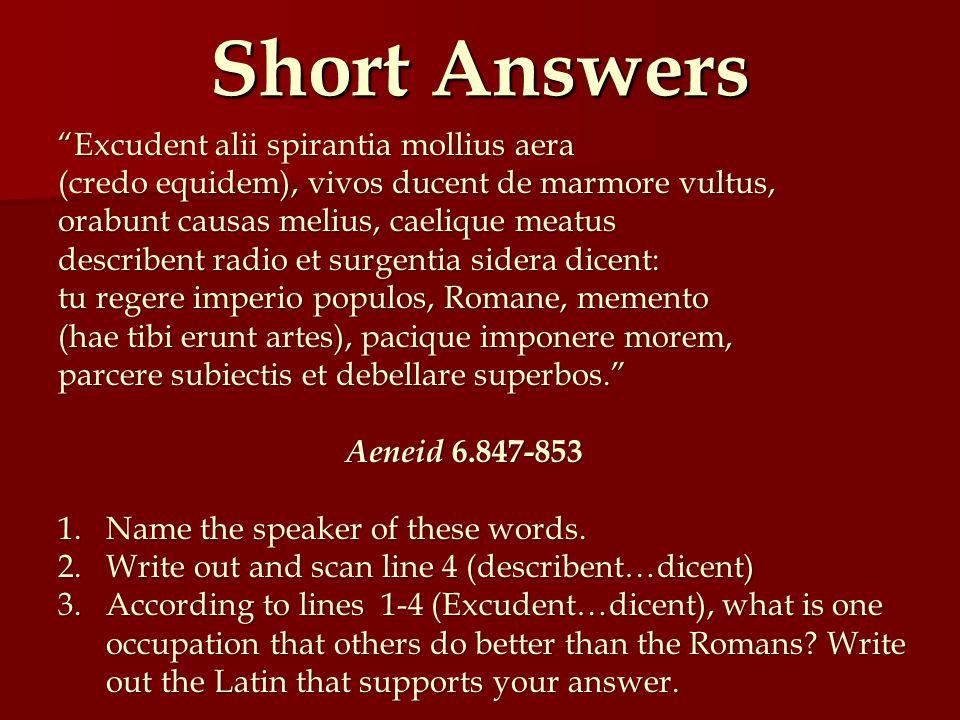Short Answers Excudent alii spirantia mollius aera