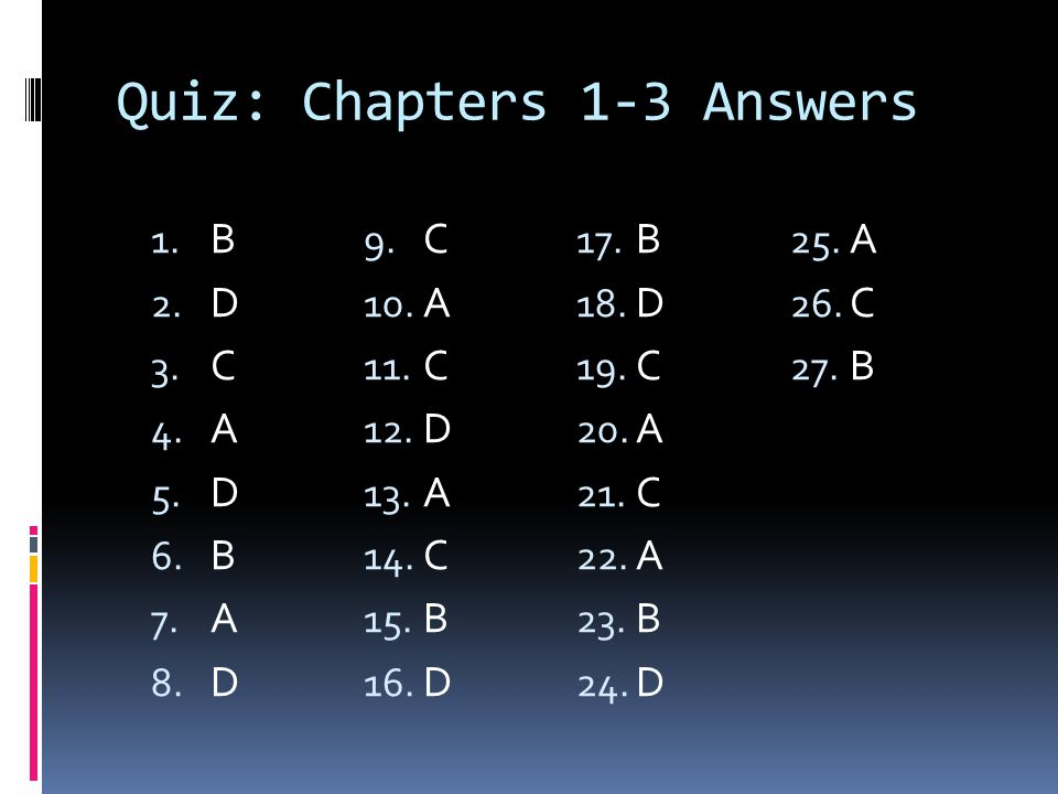 Quiz: Chapters 1-3 Answers