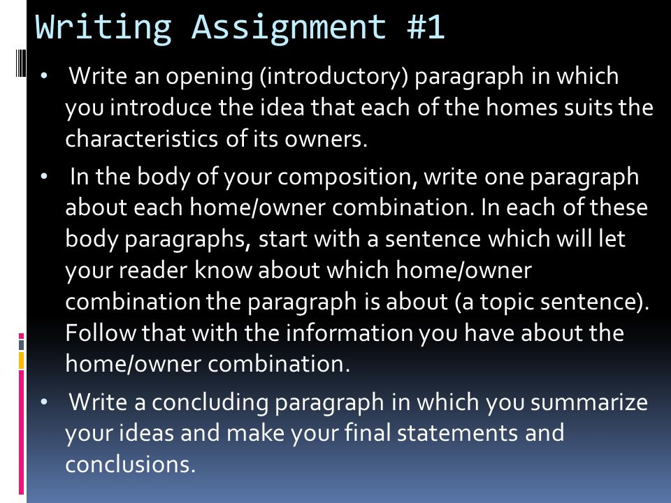 Writing Assignment #1