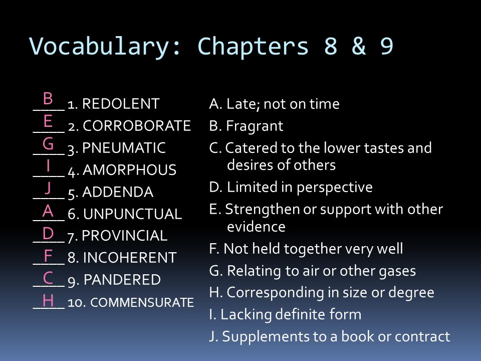 Vocabulary: Chapters 8 & 9