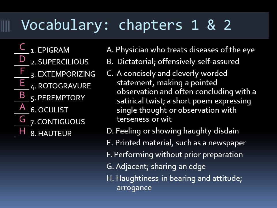 Vocabulary: chapters 1 & 2
