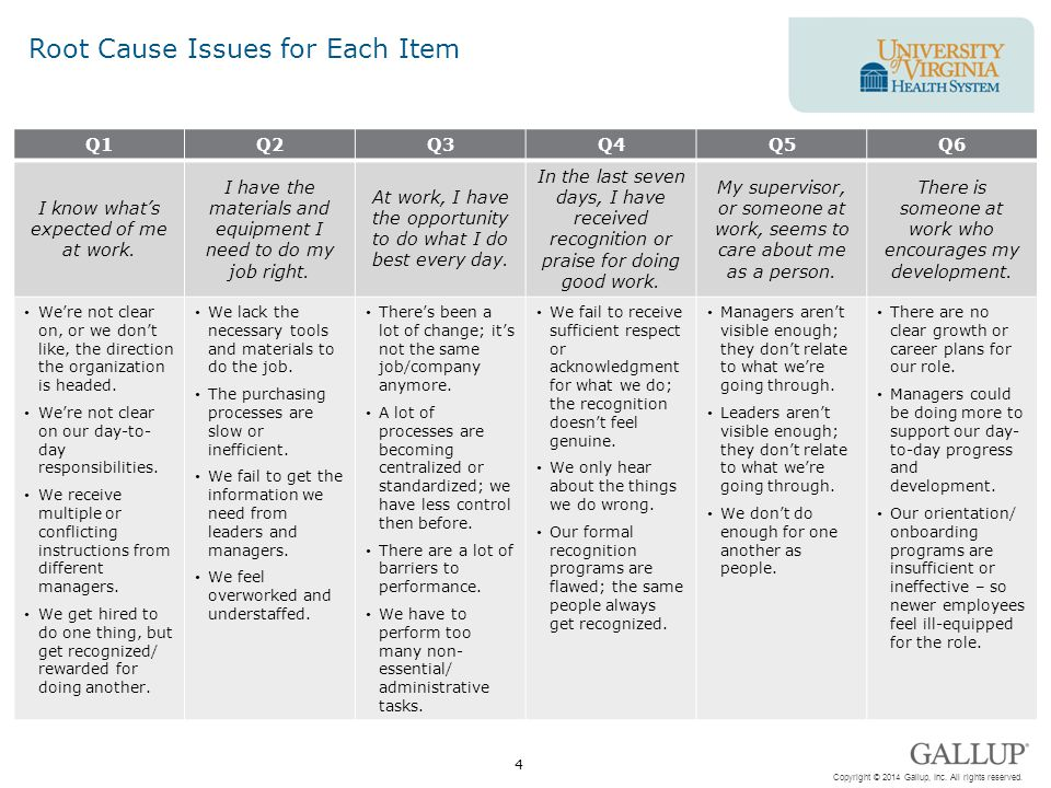 Root Cause Issues for Each Item